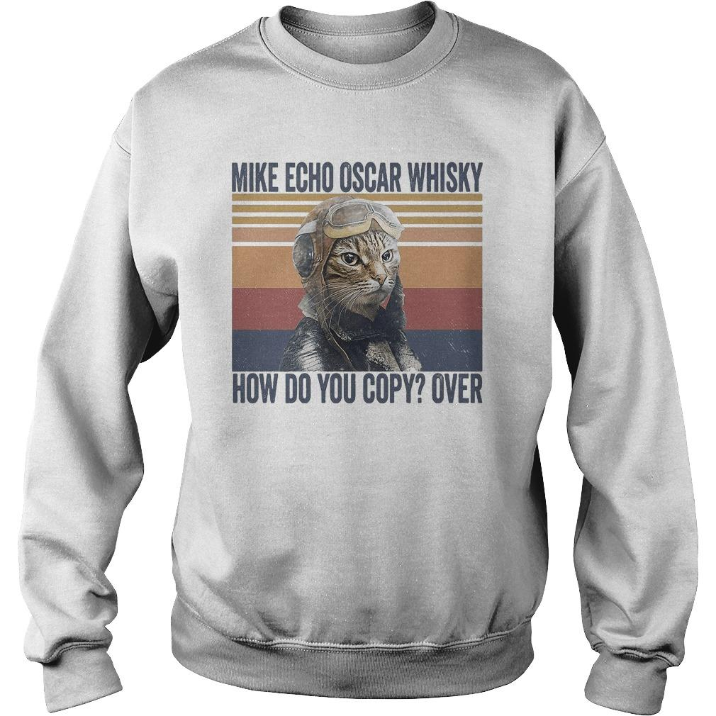 Vintage Pilot Cat Mike Echo Oscar Whisky How Do You Copy Over Sweater