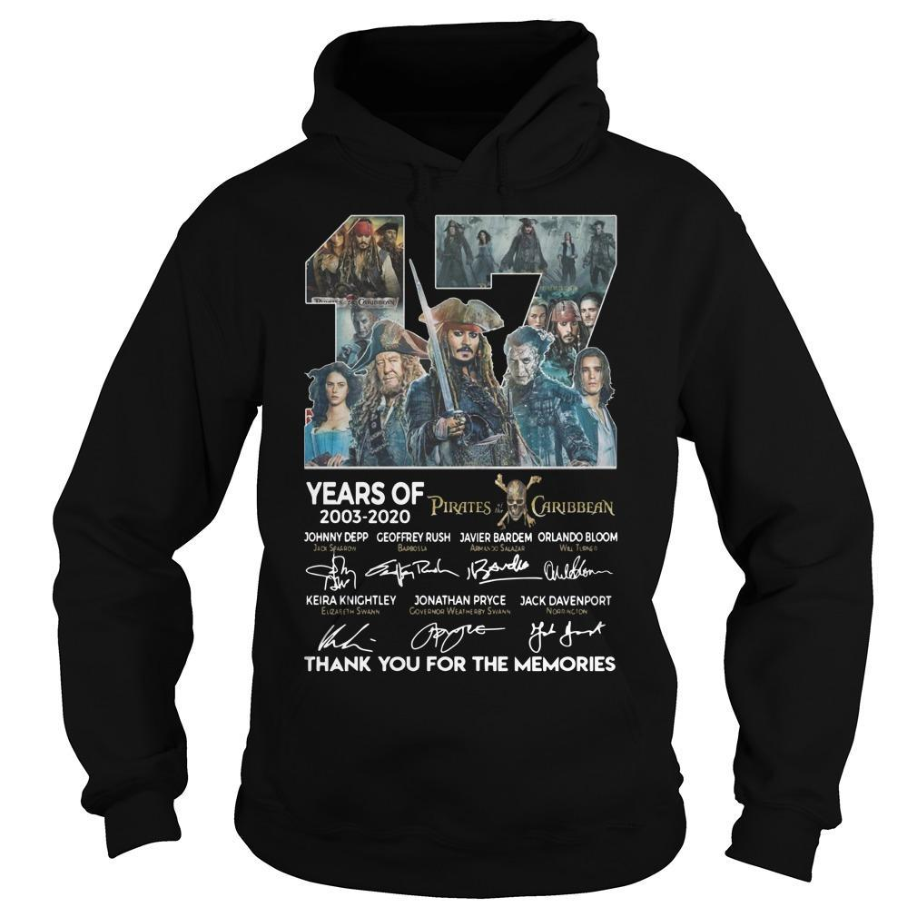 17 Years Of Pirates Caribbean Thank You For The Memories Hoodie