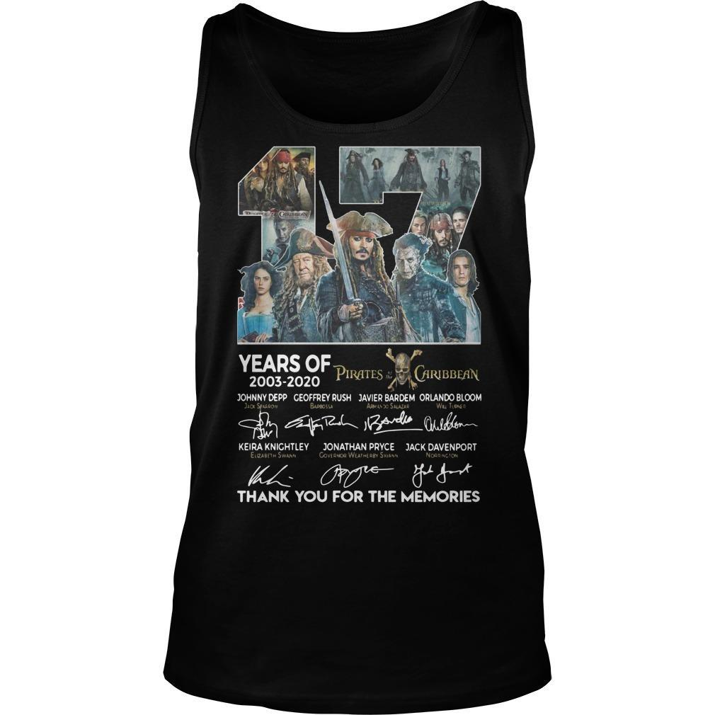 17 Years Of Pirates Caribbean Thank You For The Memories Tank Top