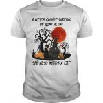 A Witch Cannot Survive On Wine Alone She Also Needs A Cat Shirt