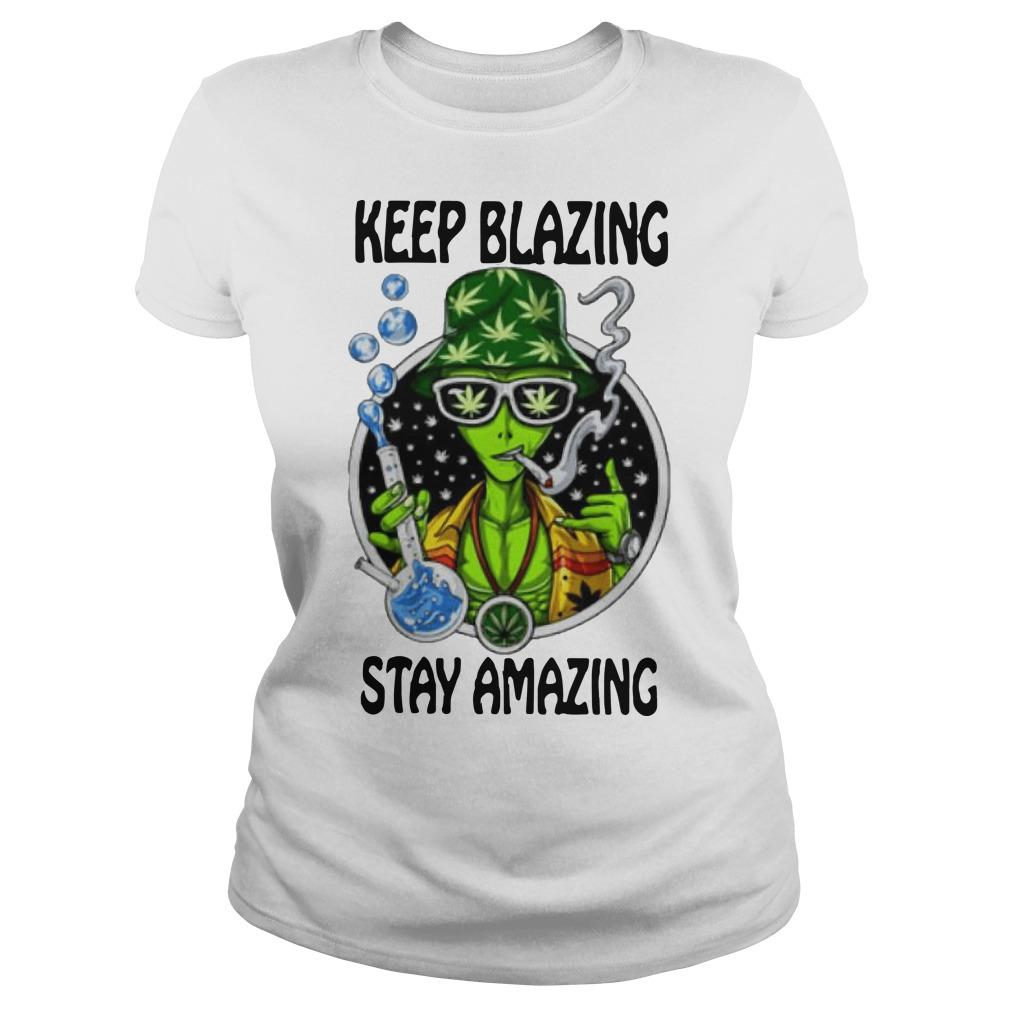 Alien Cartoon Smoking Weed Keep Blazing Stay Amazing Longsleeve