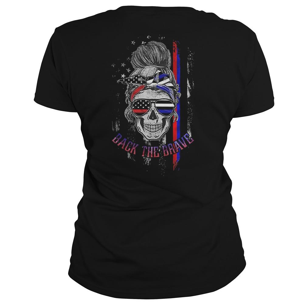 American Flag Skull Girl Back The Brave Hoodie
