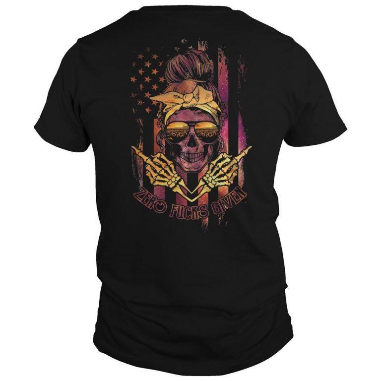 American Flag Sunflower Skull Girl Zero Fucks Given Shirt