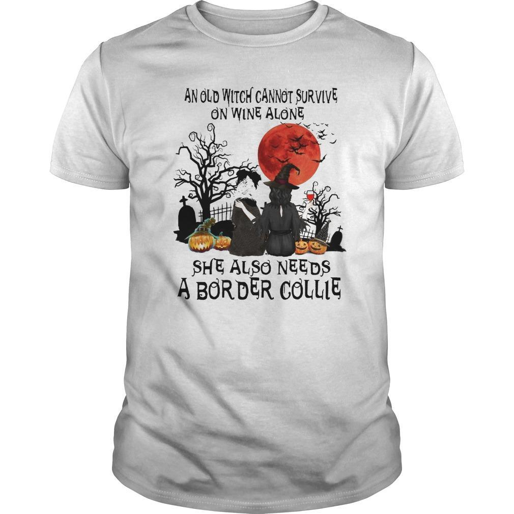 And Old Witch Cannot Survive On Wine Alone She Also Needs A Border Collie Longsleeve