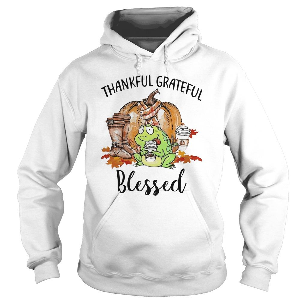 Autumn Fall Frog Thankful Grateful Blessed Hoodie