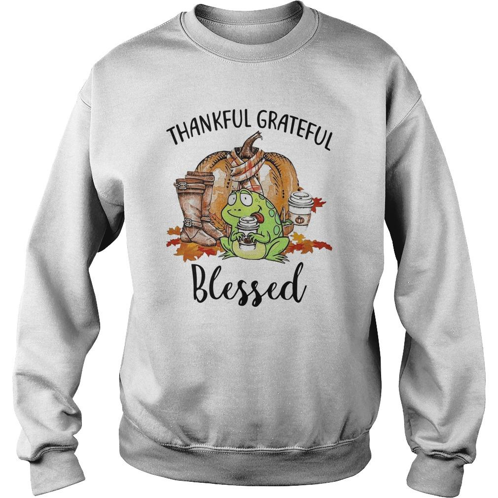 Autumn Fall Frog Thankful Grateful Blessed Sweater