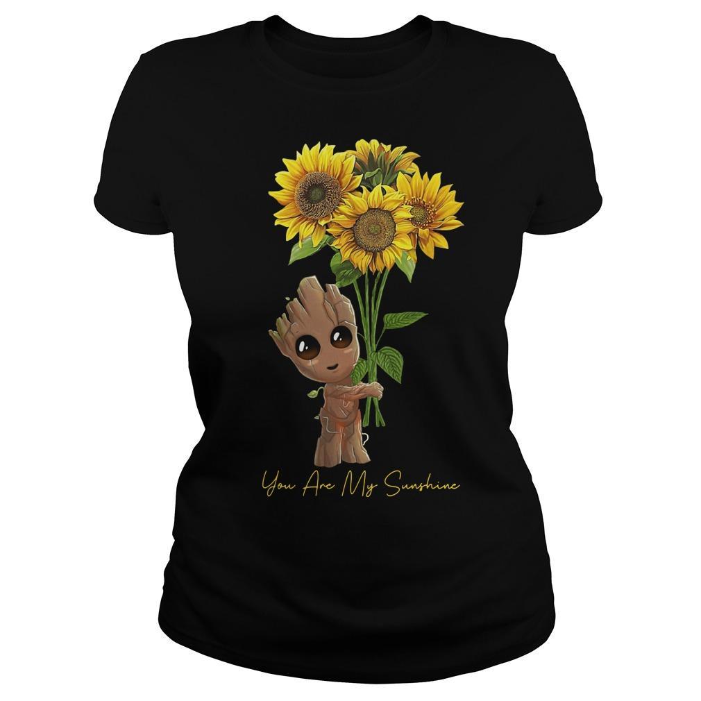 Baby Groot Hugging Sunflower You Are My Sunshine Longsleeve