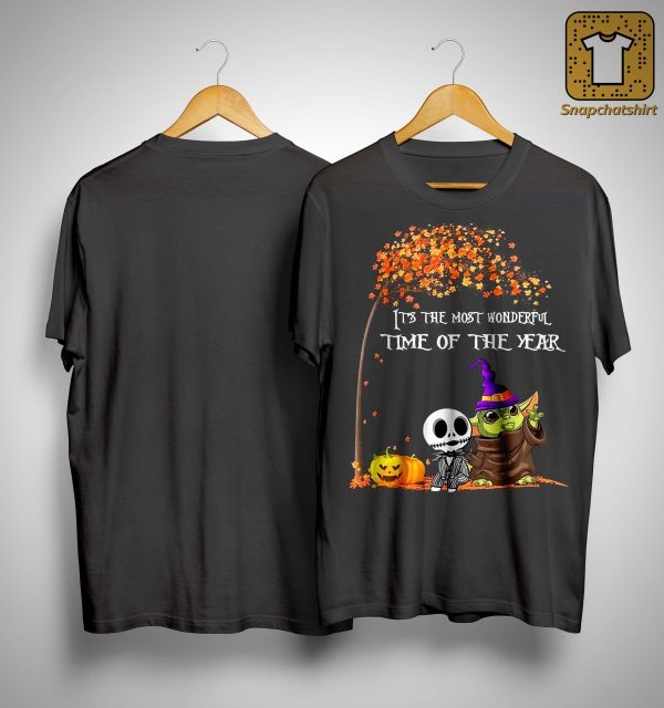 Baby Yoda Jack Skellington It's The Most Wonderful Time Of The Year Shirt