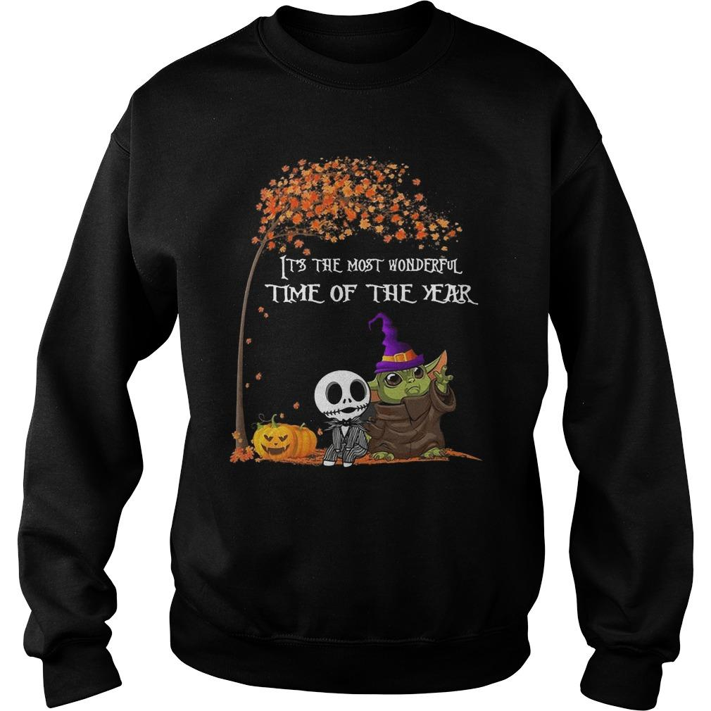 Baby Yoda Jack Skellington It's The Most Wonderful Time Of The Year Sweater