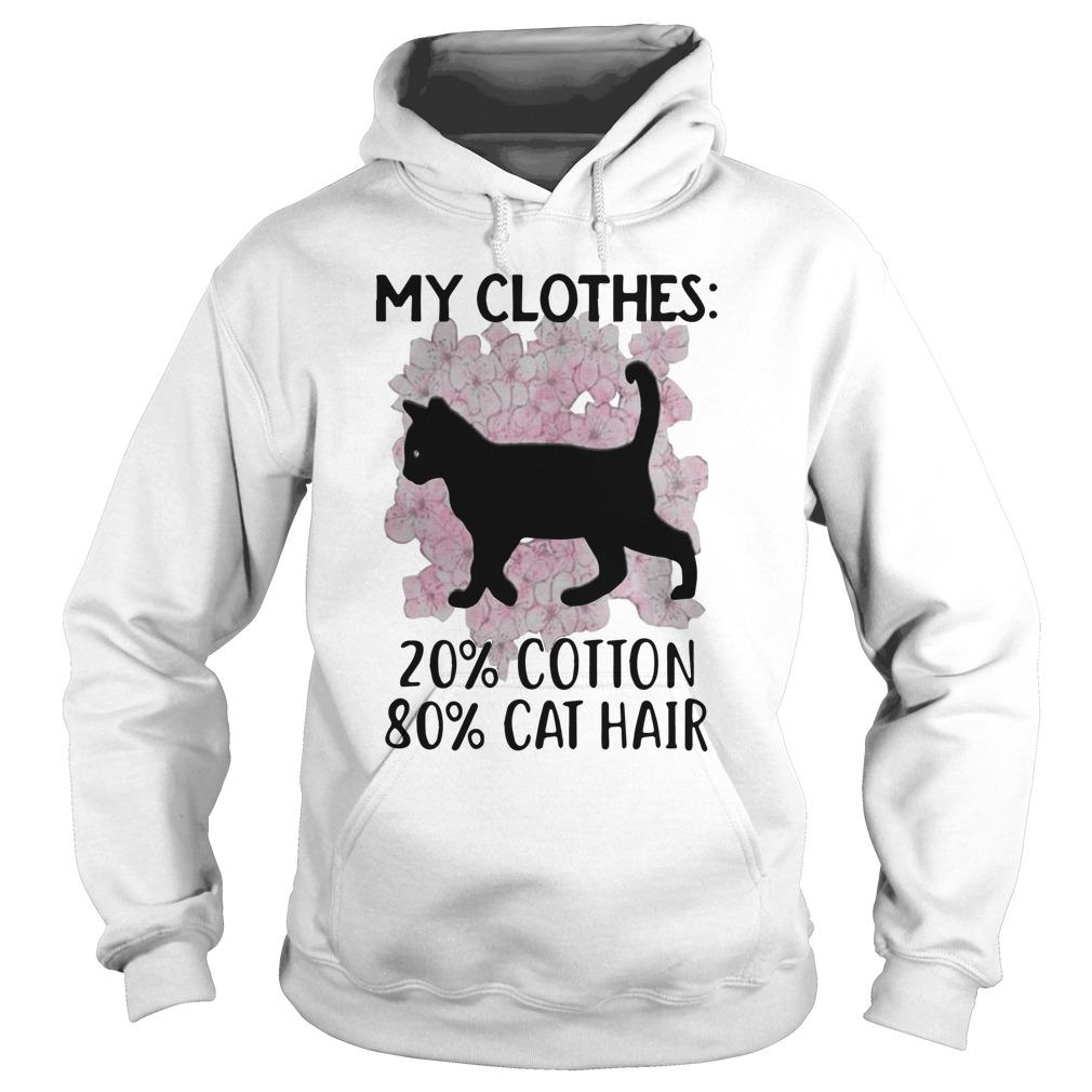 Black Cat And Cherry Blossom My Clothes 20 Cotton 80 Cat Hair Hoodie