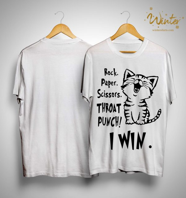 Cat Rock Paper Scissors Throat Punch I Win Shirt