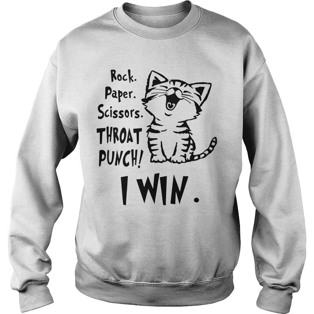 Cat Rock Paper Scissors Throat Punch I Win Sweater