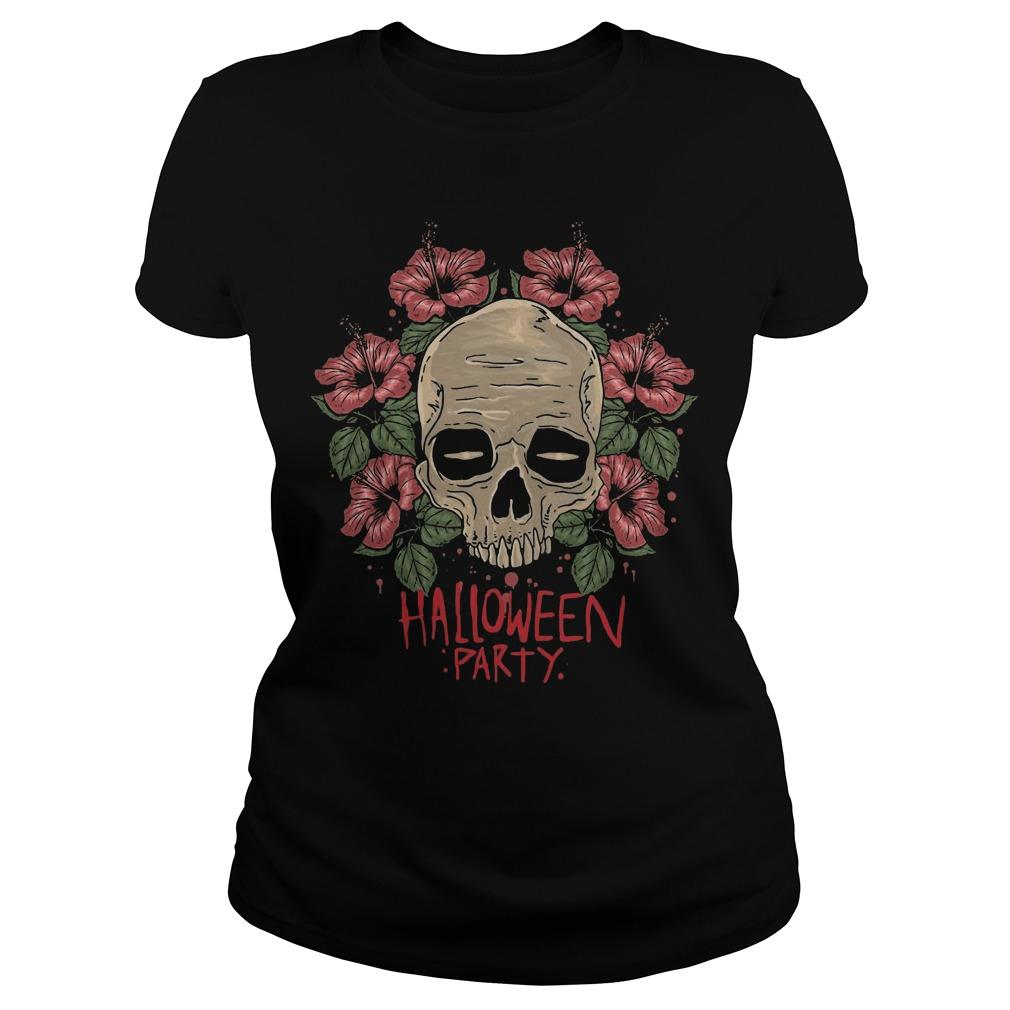 Flower Skull Hibiscus Halloween Party Longsleeve