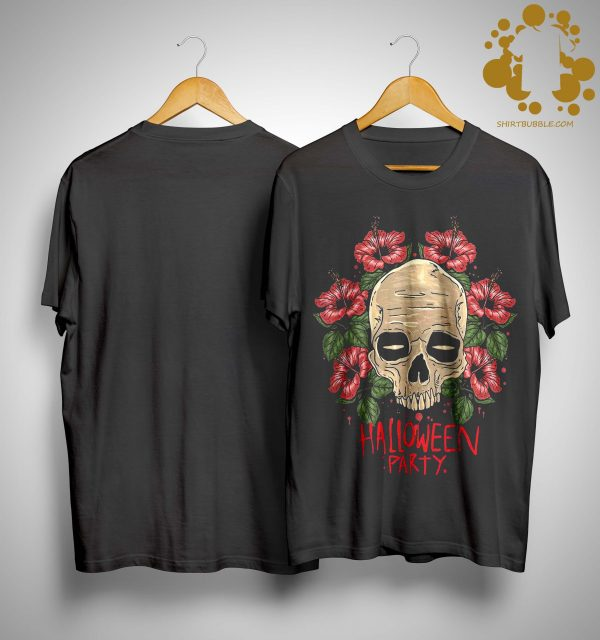 Flower Skull Hibiscus Halloween Party Shirt