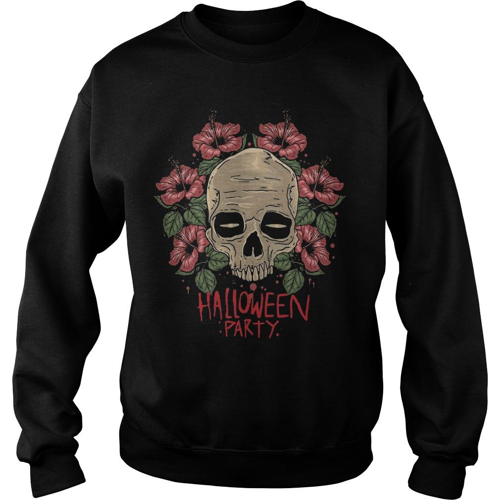Flower Skull Hibiscus Halloween Party Sweater