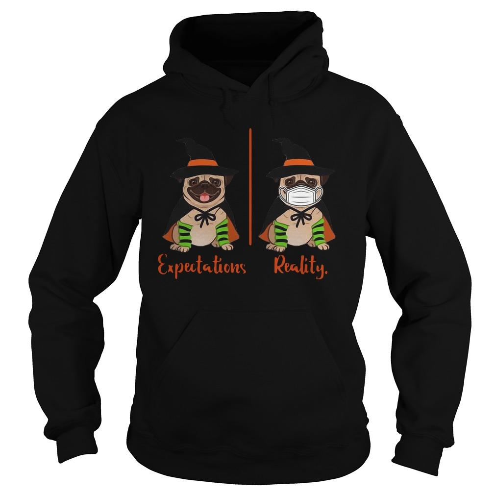 Halloween Pug Witch Expectations Reality Hoodie