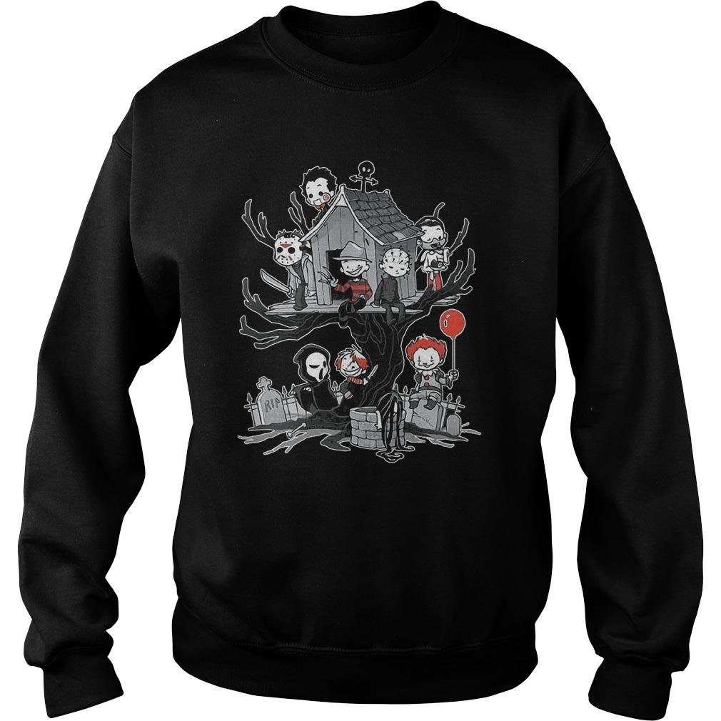 Halloween Tree House Horror Characters Sweater