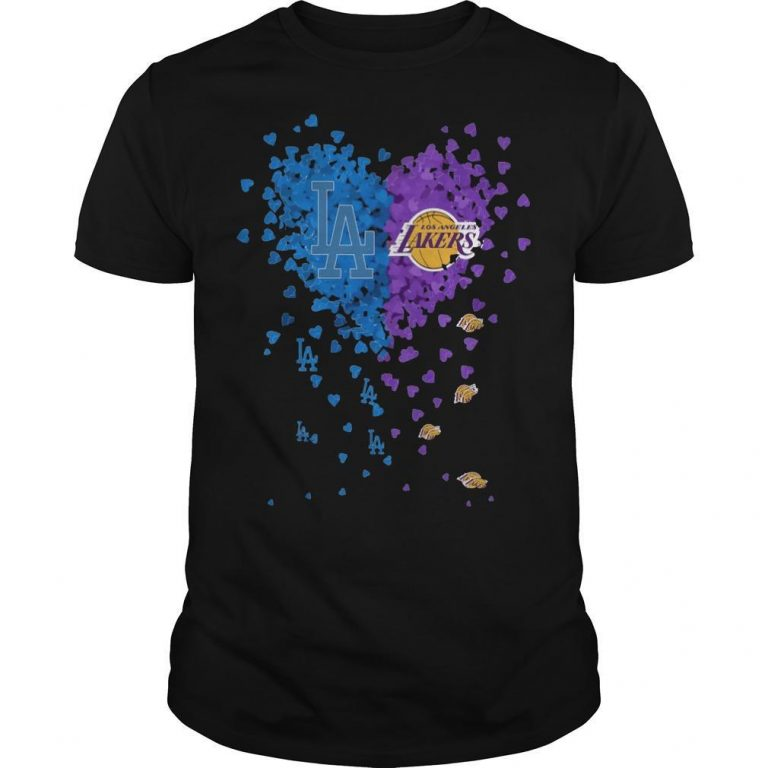 Heart Los Angeles And Los Angeles Lakers Shirt