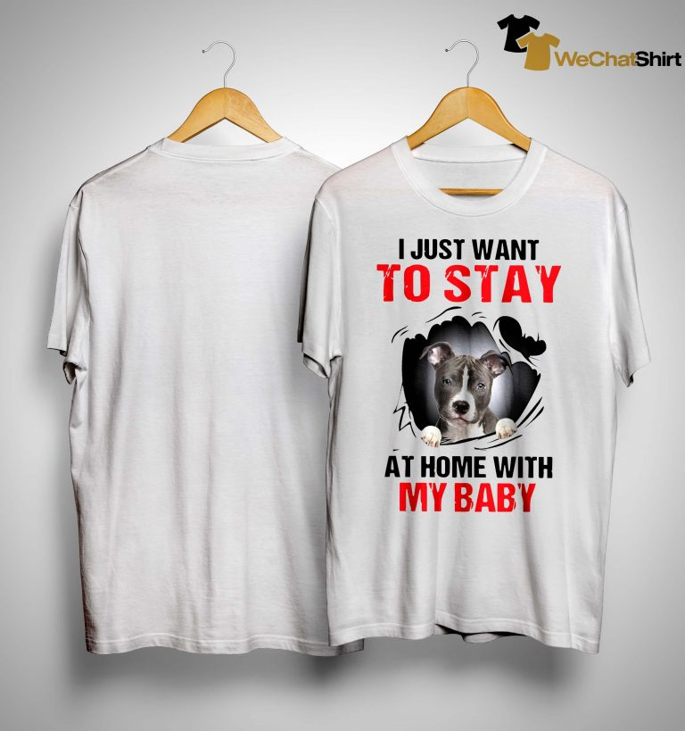 Pitbull I Just Want To Stay At Home With My Baby Shirt
