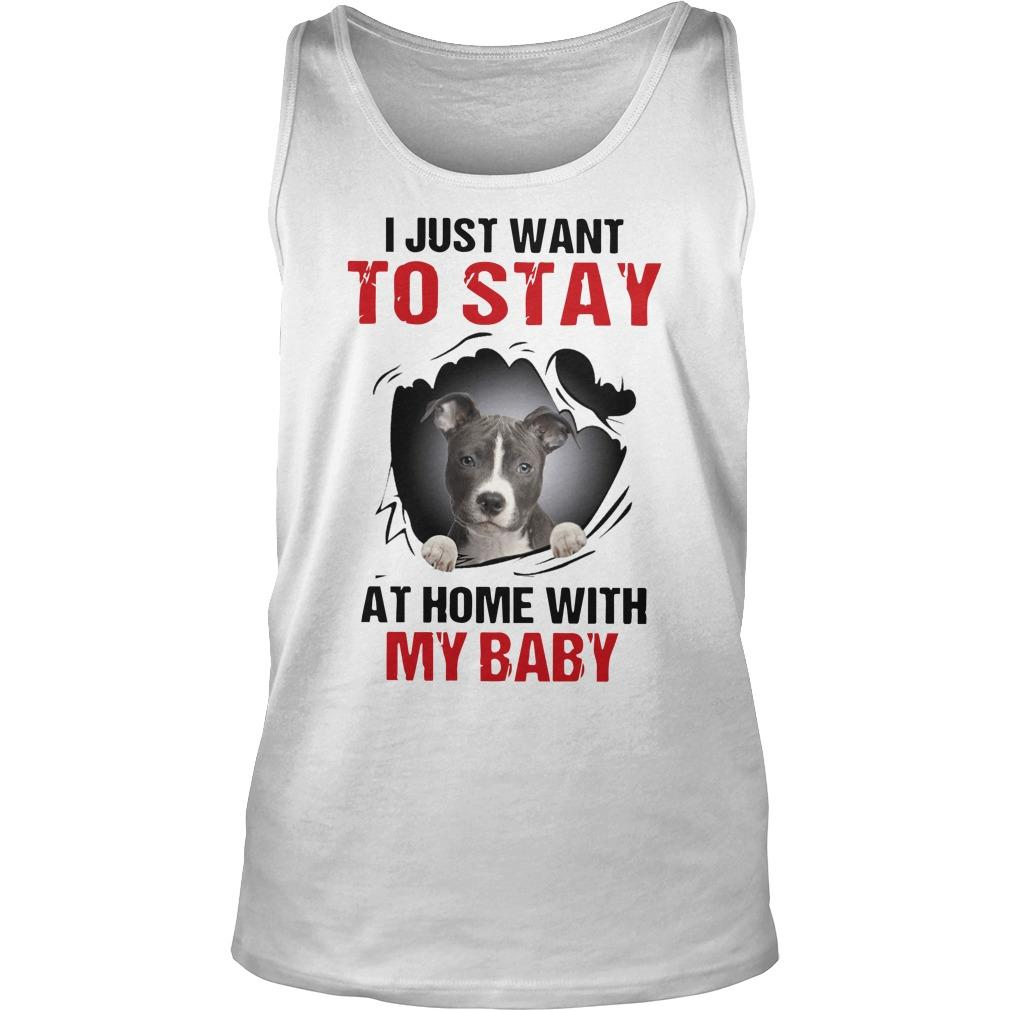 Pitbull I Just Want To Stay At Home With My Baby Tank Top