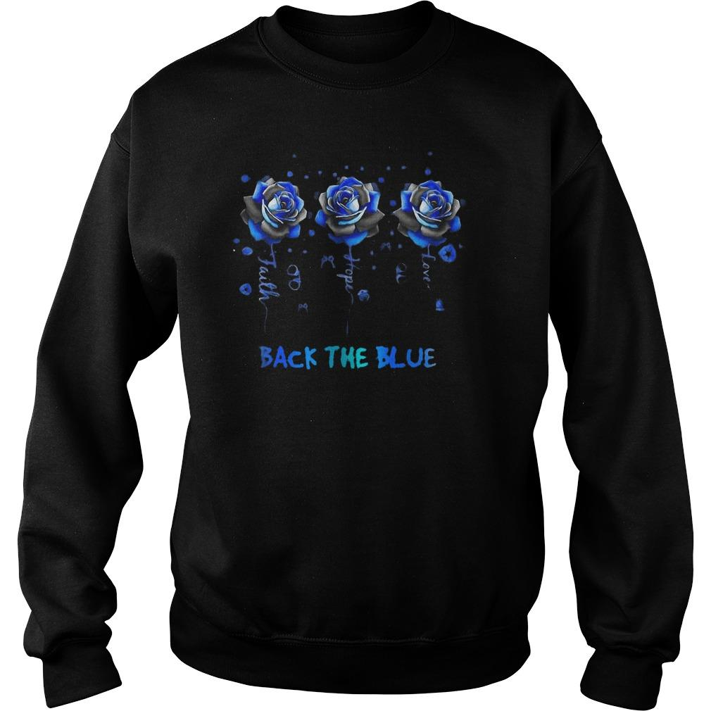 Rose Faith Hope Love Back The Blue Sweater