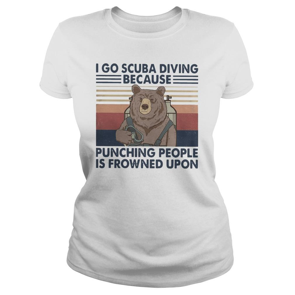 Vintage Bear I Go Scuba Diving Because Punching People Is Frowned Upon Longsleeve