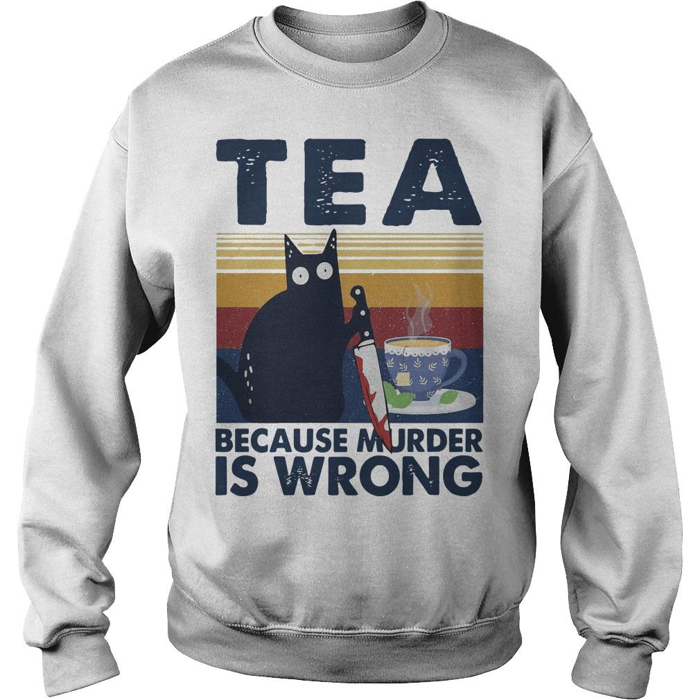 Vintage Black Cat Michael Myers Tea Because Murder Is Wrong Sweater