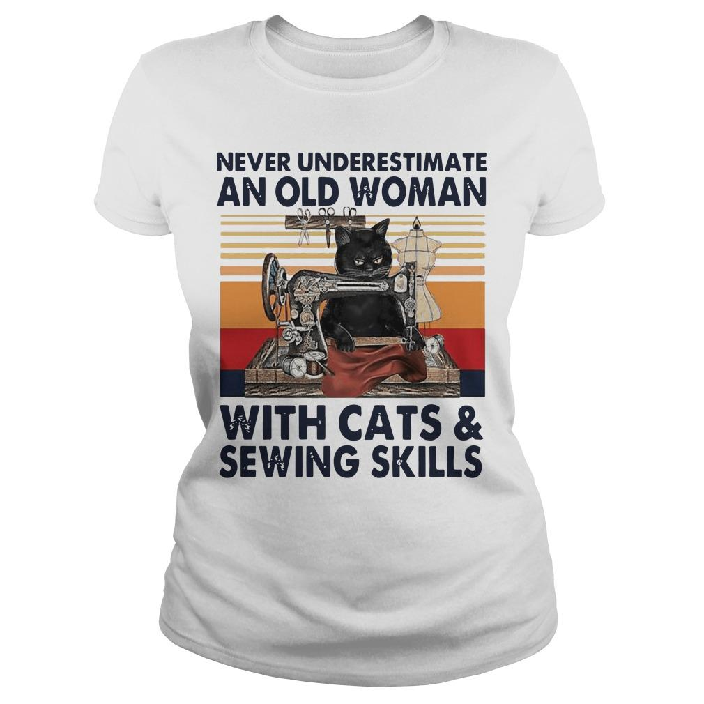 Vintage Never Underestimate An Old Woman With Cats And Sewing Skills Longsleeve