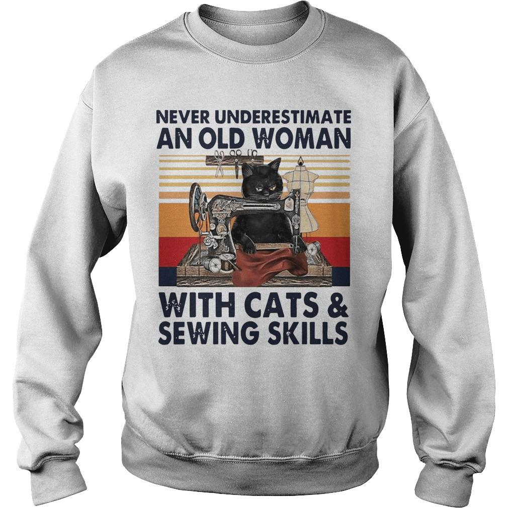 Vintage Never Underestimate An Old Woman With Cats And Sewing Skills Sweater