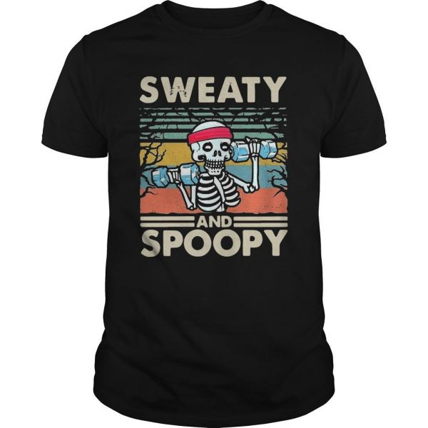 Vintage Skeleton Fitness Gym Sweaty And Spoopy Shirt