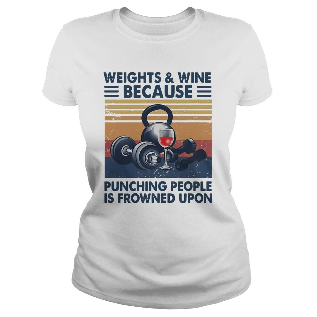Vintage Weights & Wine Because Punching People Is Frowned Upon Longsleeve