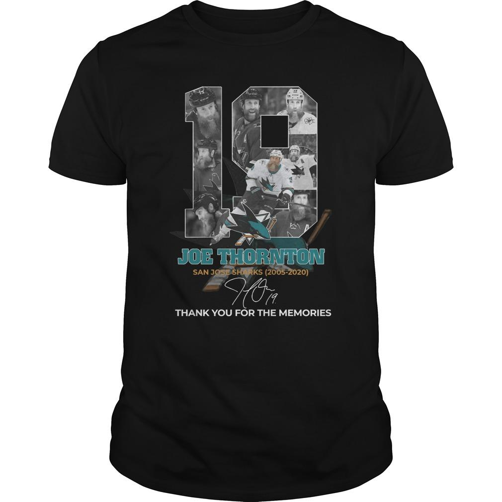 19 Joe Thornton San Jose Sharks Thank You For The Memories Longsleeve