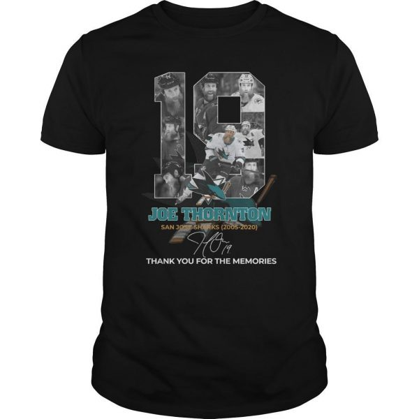 19 Joe Thornton San Jose Sharks Thank You For The Memories Shirt