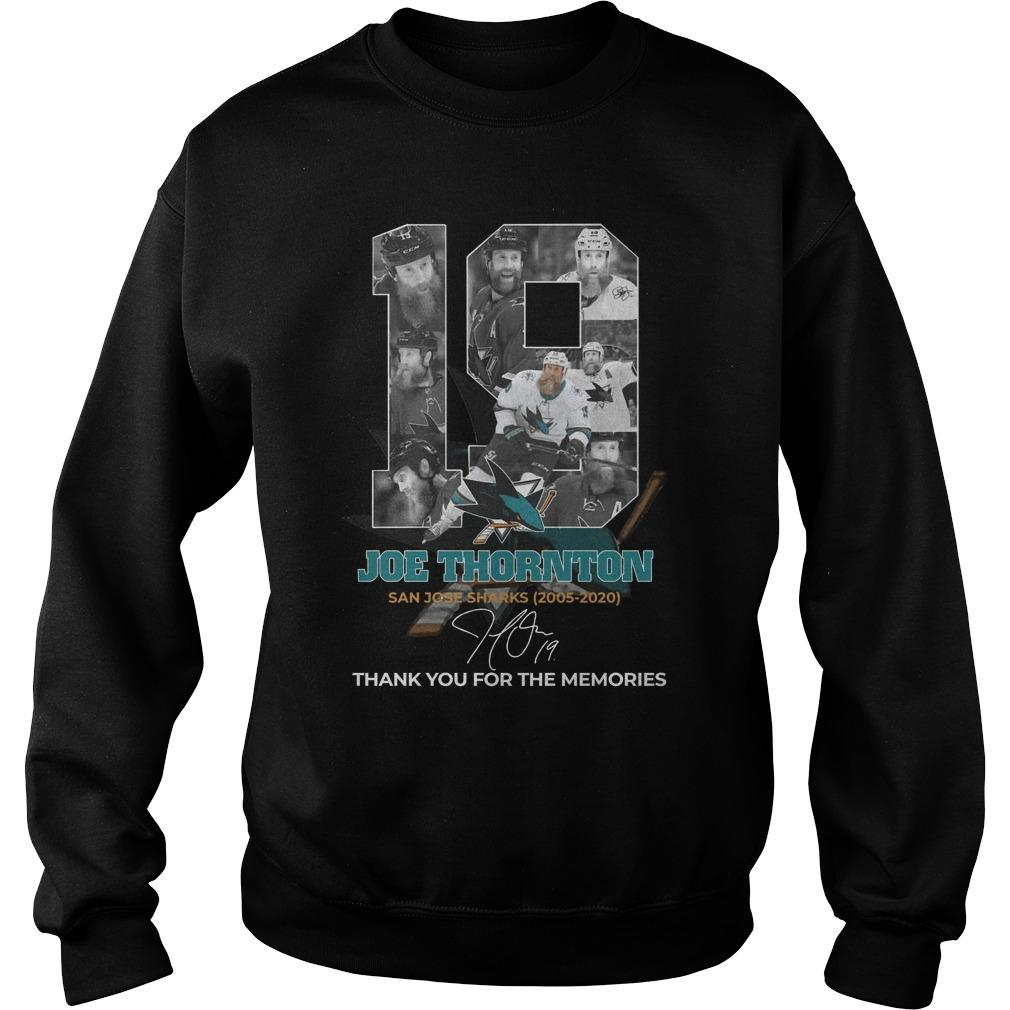 19 Joe Thornton San Jose Sharks Thank You For The Memories Sweater