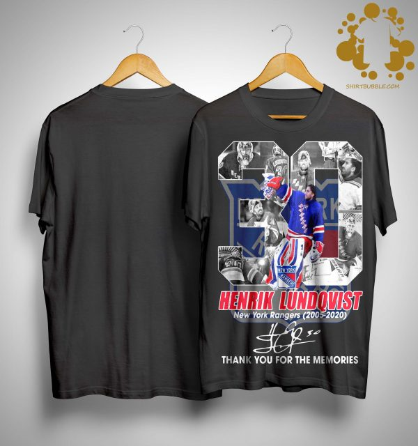 30 Henrik Lundqvist New York Rangers Thank You For The Memories Signature Shirt