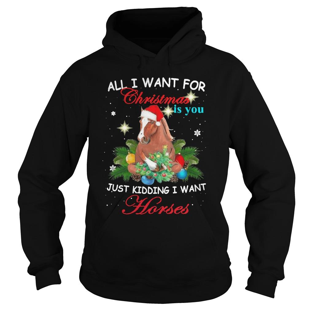 All I Want For Christmas Is You Just Kidding Want Horses Hoodie
