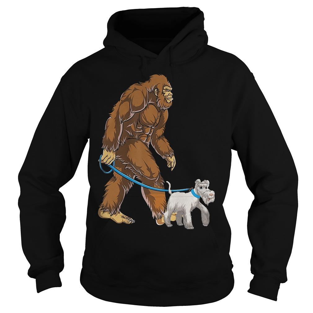 Bigfoot Sasquatch Walking Schnauzer Hoodie