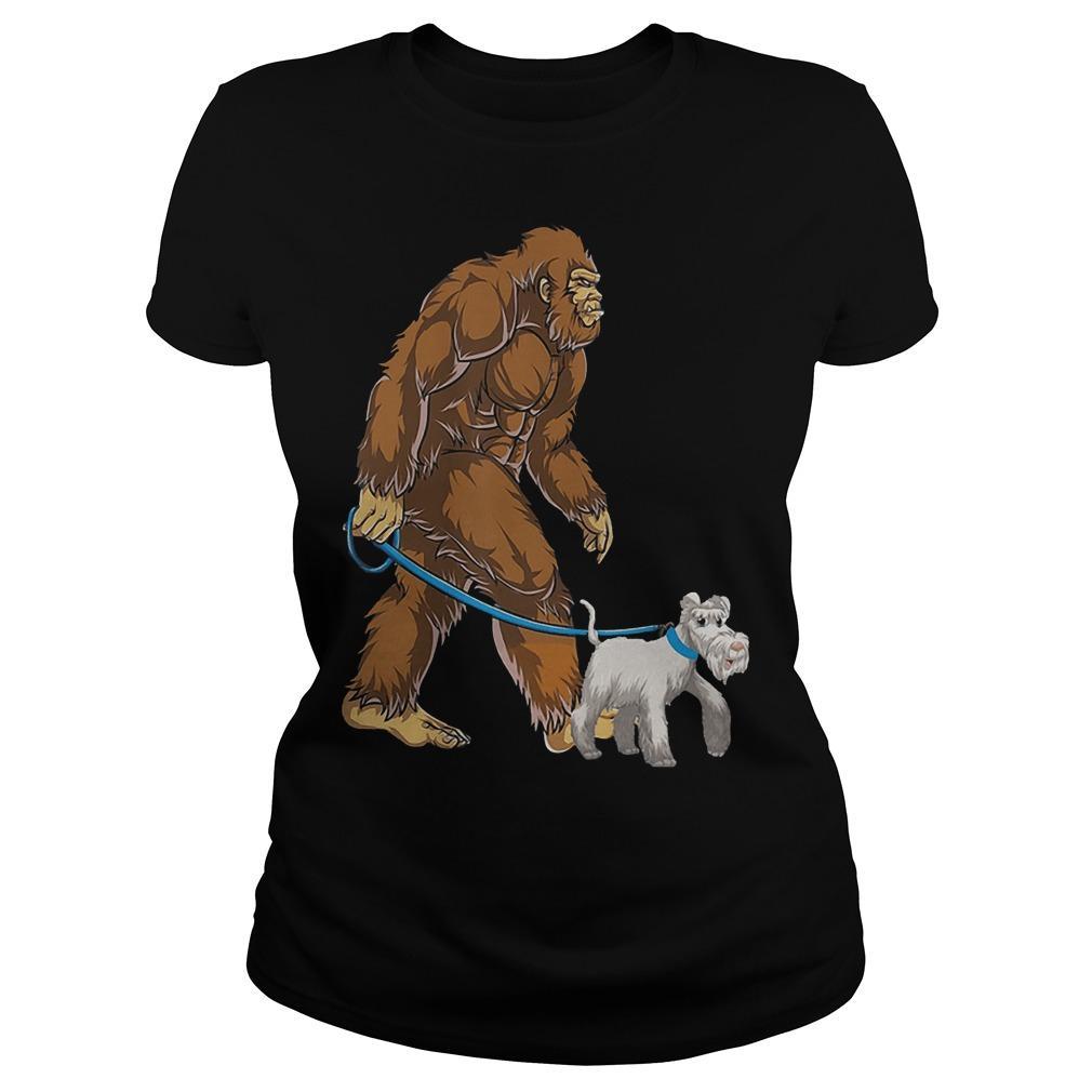 Bigfoot Sasquatch Walking Schnauzer Longsleeve