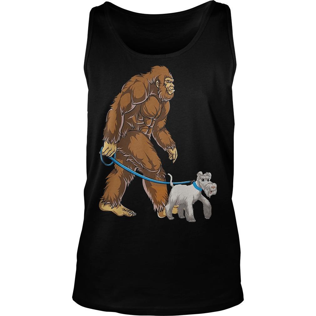 Bigfoot Sasquatch Walking Schnauzer Tank Top