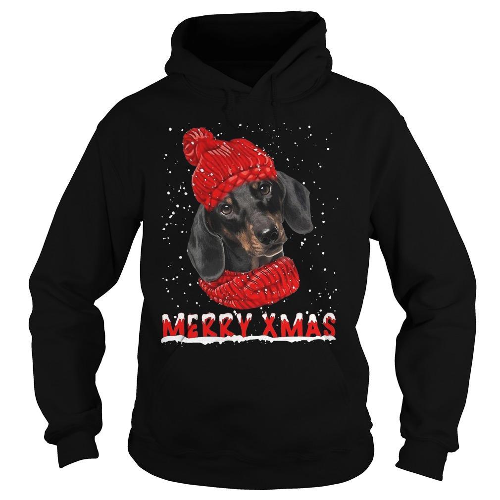 Black Dachshund Merry Xmas Hoodie