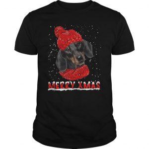 Black Dachshund Merry Xmas Shirt