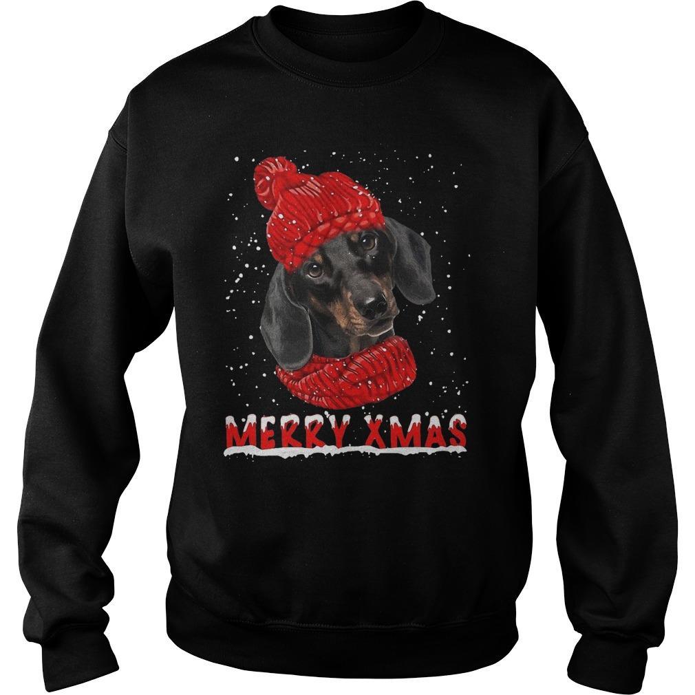 Black Dachshund Merry Xmas Sweater