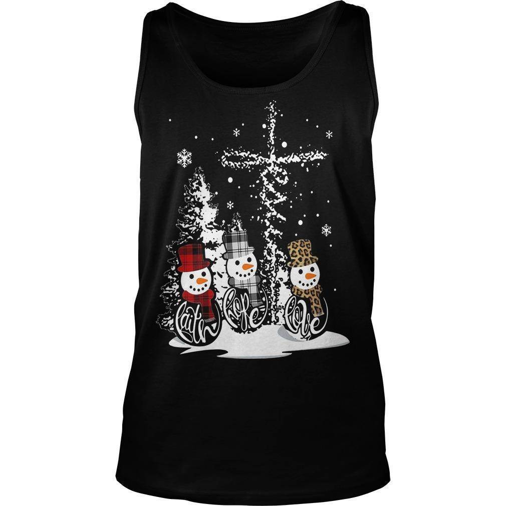 Christmas Snowman Faith Hope Love Tank Top