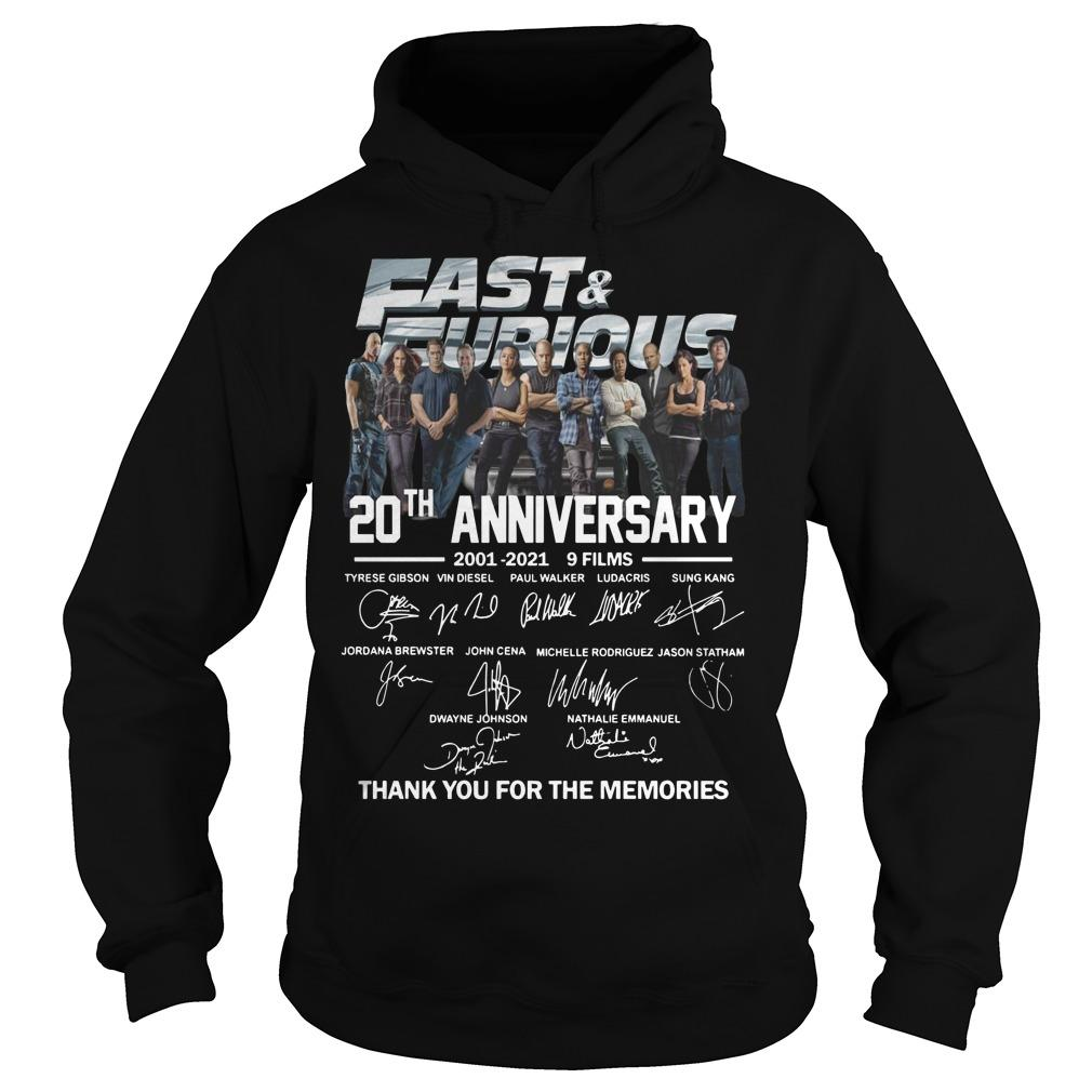 Fast And Furious Signatures 20th Anniversary Hoodie