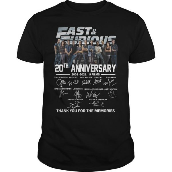 Fast And Furious Signatures 20th Anniversary Shirt