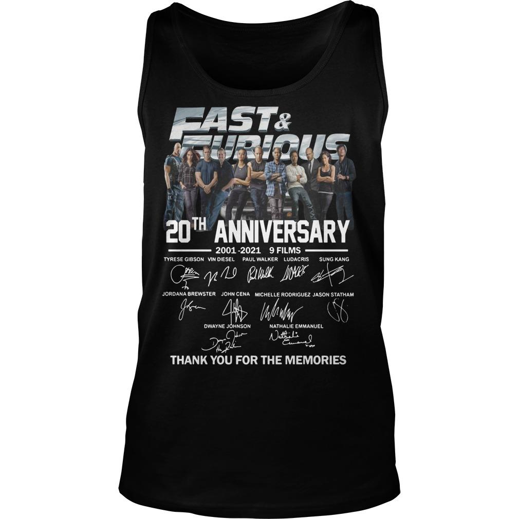 Fast And Furious Signatures 20th Anniversary Tank Top