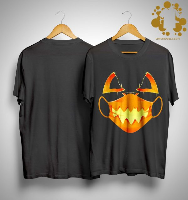 Halloween Covid Mask Costume Scary Pumpkin Shirt