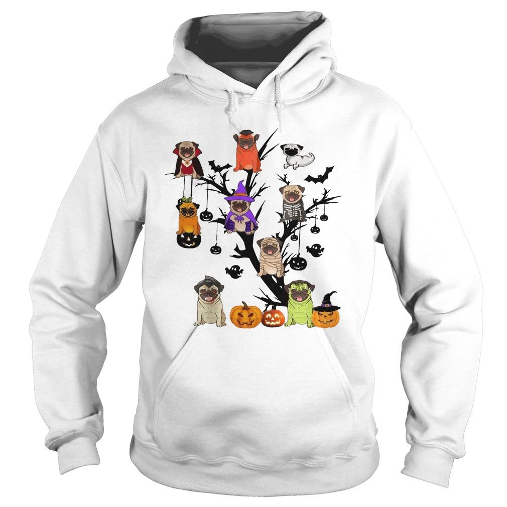 Halloween Tree Pug Hoodie