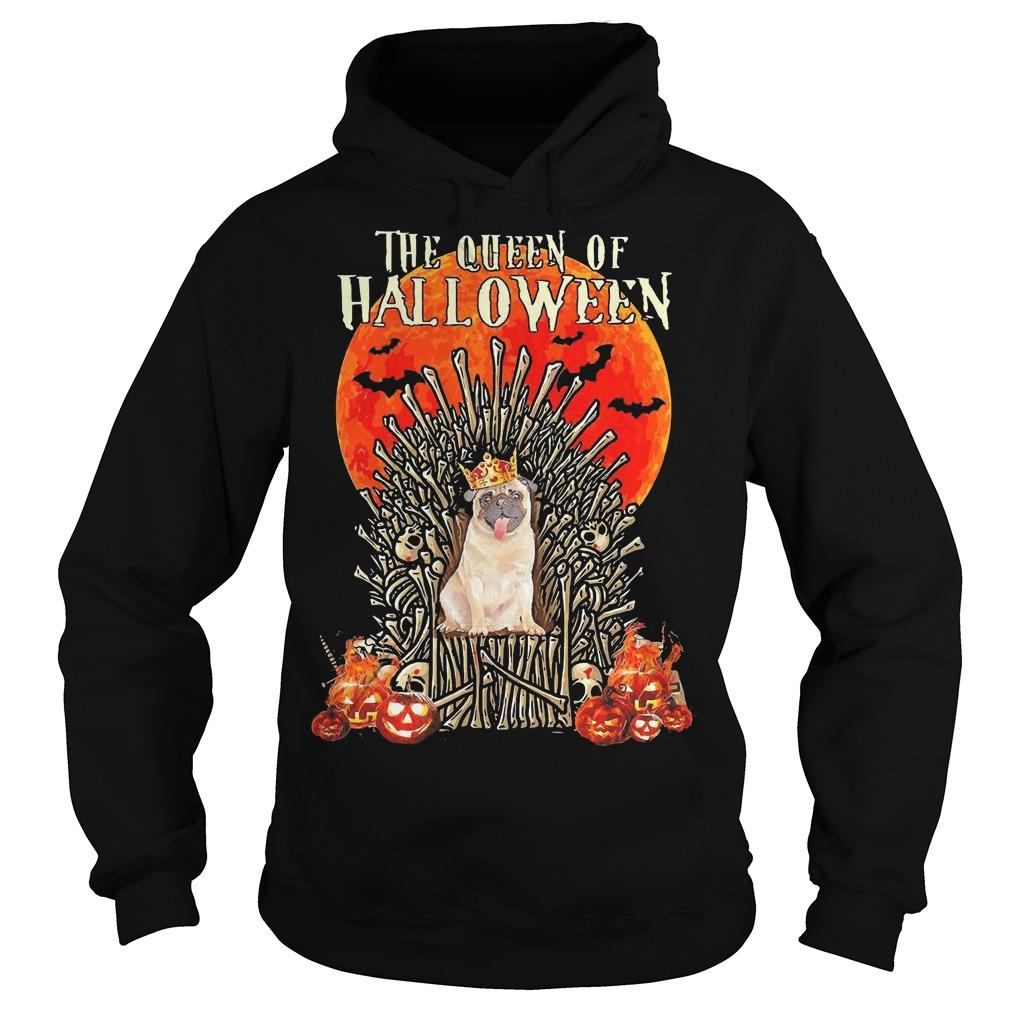 Pug The Queen Of Halloween Hoodie