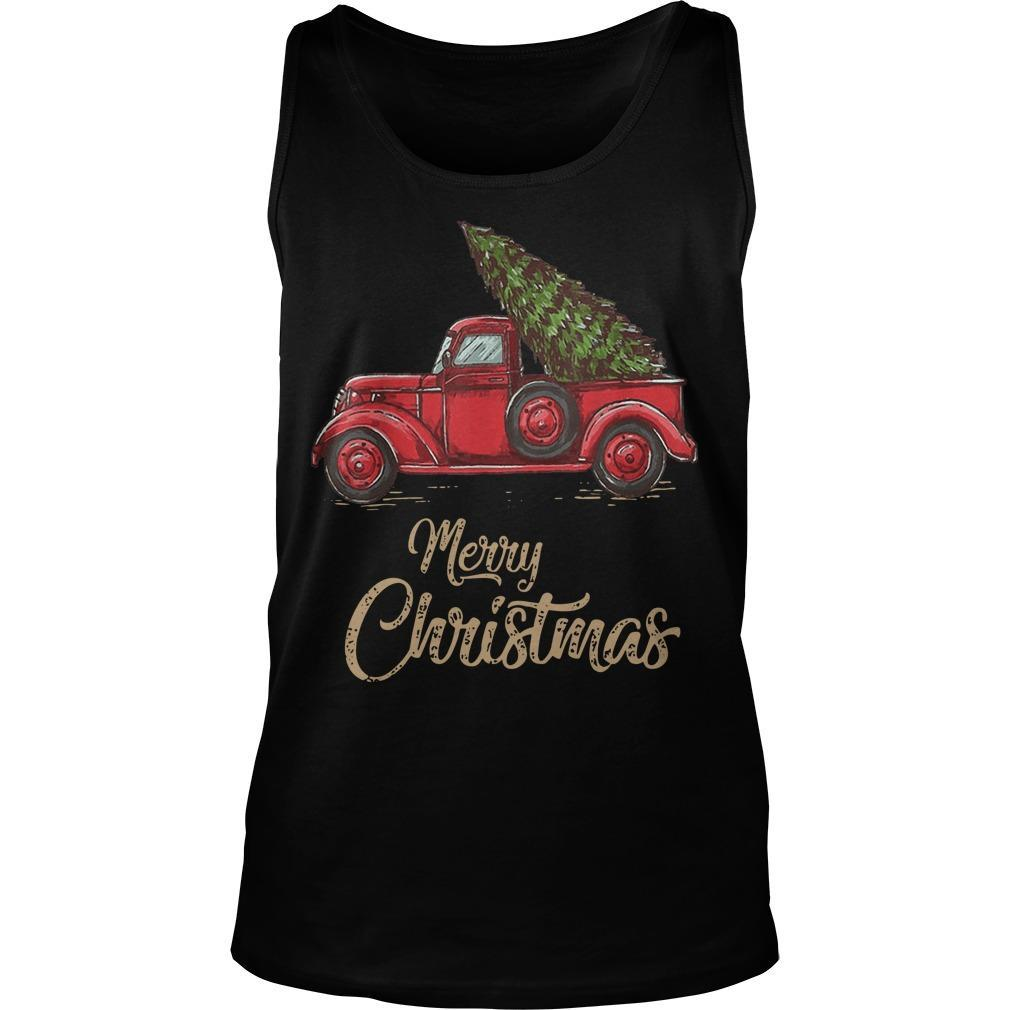 Red Truck Merry Christmas Tank Top